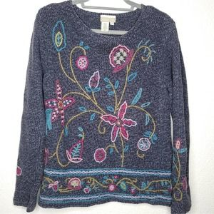 90'S Vintage Coldwater Creek Floral Embroidered Sweater, Size Small